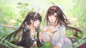 Rating: Safe Score: 88 Tags: 2girls anthropomorphism ass atdan azur_lane black_hair blush breasts brown_hair butterfly cake demon drink flowers food headband horns independence_(azur_lane) long_hair noshiro_(azur_lane) purple_eyes red_eyes school_uniform shirt signed skirt tie User: otaku_emmy
