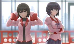 Rating: Safe Score: 77 Tags: 2girls bakemonogatari hanekawa_tsubasa monogatari_(series) oshino_ougi siraha User: luckyluna