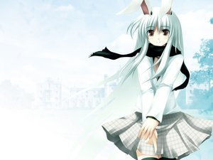 Rating: Safe Score: 56 Tags: animal_ears brown_eyes building bunny_ears bunnygirl long_hair polychromatic reisen_udongein_inaba scarf skirt touhou tree white_hair winter User: amos_ncp