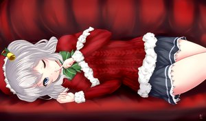 Rating: Safe Score: 141 Tags: anthropomorphism bell bow christmas couch gray_hair hat kantai_collection kashima_(kancolle) myuu_(arisumeria) santa_hat skirt wink User: Flandre93