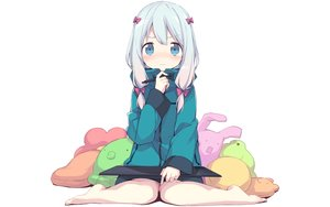 Rating: Safe Score: 100 Tags: aqua_eyes barefoot blush bow eromanga-sensei gray_hair hoodie izumi_sagiri loli long_hair twintails yuizaki_kazuya User: RyuZU