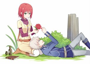 Rating: Safe Score: 31 Tags: akagami_no_shirayukihime blue_eyes blush book boots flowers green_eyes kenkaizar male red_hair rose shirayuki_(akagami_no_shirayukihime) short_hair skirt white white_hair zen_wistalia User: RyuZU