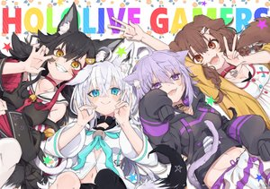 Rating: Safe Score: 26 Tags: animal_ears aqua_eyes bell black_hair blush brown_eyes brown_hair catgirl cat_smile choker collar doggirl fang foxgirl hololive hoodie inugami_korone japanese_clothes long_hair navel nekomata_okayu ookami_mio pochimoto purple_eyes purple_hair shirakami_fubuki tail white_hair wolfgirl yellow_eyes User: RyuZU