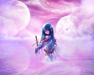 Rating: Safe Score: 18 Tags: animal bird blood blue_eyes blue_hair clouds crying elbow_gloves gloves long_hair moon pink skirt sword tears water weapon User: Oyashiro-sama