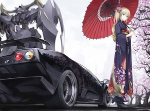 Rating: Safe Score: 470 Tags: blonde_hair blue_eyes boots car cherry_blossoms five_star_stories flowers horns japanese_clothes kimono mecha ponytail robot short_hair tagme tomo_(machinemess) tree umbrella white User: w7382001