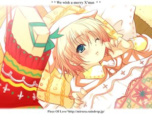 Rating: Safe Score: 12 Tags: bed blush christmas green_eyes pajamas pink_hair short_hair wink User: Oyashiro-sama
