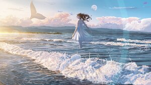Rating: Safe Score: 44 Tags: animal banishment brown_hair clouds dress fish long_hair moon original scenic signed sky water User: FormX