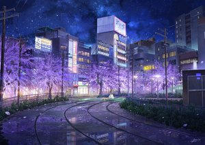 Rating: Safe Score: 113 Tags: animal brown_hair building cat cherry_blossoms city flowers long_hair niko_p original petals reflection scenic signed skirt sky stars train tree water User: otaku_emmy