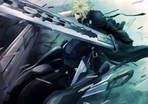 Rating: Safe Score: 101 Tags: blonde_hair cloud_strife final_fantasy final_fantasy_vii final_fantasy_vii_advent_children male motorcycle pochiharu sunglasses sword weapon User: HawthorneKitty