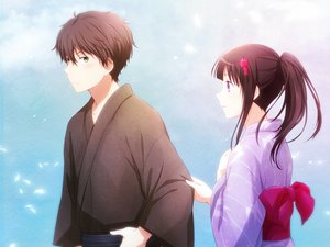 Rating: Safe Score: 140 Tags: arya_(artist) black_hair brown_hair chitanda_eru green_eyes hyouka japanese_clothes kimono long_hair male oreki_houtarou ponytail purple_hair short_hair User: RyuZU