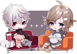 Rating: Safe Score: 3 Tags: animal aqua_eyes brown_hair cat cat_smile couch drink fang gray_hair hoodie misumi_(macaroni) pointed_ears red_eyes short_hair User: otaku_emmy