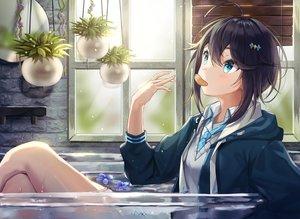 Rating: Safe Score: 41 Tags: aqua_eyes bath bathtub black_hair blush flowers hoodie kaon_(kaon_ll) nijisanji school_uniform short_hair sorahoshi_kirame tie water User: RyuZU