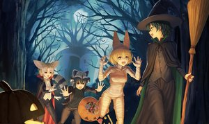 Rating: Safe Score: 45 Tags: animal animal_ears anthropomorphism bird black_hair blonde_hair bow brown_eyes candy cape catgirl common_raccoon_(kemono_friends) cosplay fennec_(kemono_friends) food foxgirl frankenstein green_eyes green_hair group halloween kaban kemono_friends moon night serval short_hair sion_(9117) sky tail tree yellow_eyes User: BattlequeenYume