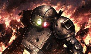 Rating: Safe Score: 90 Tags: armor armored_trooper_votoms fire green_eyes hellshock mecha red_eyes robot User: TommyGunn