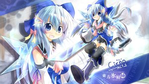 Rating: Safe Score: 78 Tags: blue_eyes blue_hair blush boots bow cirno dress fairy long_hair ribbons skirt sword thighhighs touhou watermark weapon yurume_atsushi zoom_layer User: Septentrion_P