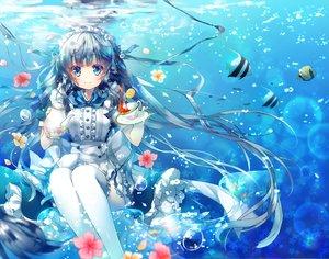 Rating: Safe Score: 116 Tags: animal blue_eyes blue_hair bubbles drink fish flowers headdress long_hair maid miwabe_sakura original ribbons thighhighs underwater water User: Flandre93