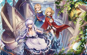 Rating: Safe Score: 65 Tags: anthropomorphism apron aqua_eyes azur_lane belfast_(azur_lane) blonde_hair braids breasts cape chain cleavage essual_(layer_world) gloves headdress hood_(azur_lane) long_hair magic prince_of_wales_(azur_lane) purple_eyes purple_hair short_hair skirt thighhighs User: RyuZU
