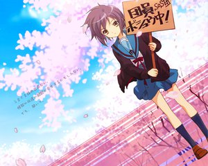 Rating: Safe Score: 30 Tags: brown_eyes cherry_blossoms flowers nagato_yuki petals school_uniform suzumiya_haruhi_no_yuutsu User: Oyashiro-sama