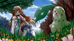 Rating: Safe Score: 88 Tags: bow brown_hair chikorita flowers grass green_eyes ilolamai pokemon red_eyes User: gnarf1975