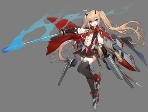 Rating: Safe Score: 44 Tags: amazon_(azur_lane) anthropomorphism azur_lane blonde_hair blue_eyes bow cape fang gloves long_hair magic shi-chen shirt skirt sword thighhighs transparent twintails weapon zettai_ryouiki User: otaku_emmy