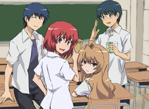 Rating: Safe Score: 22 Tags: aisaka_taiga blue_hair brown_eyes brown_hair gray_eyes group kitamura_yuusaku kushieda_minori long_hair red_eyes red_hair short_hair takasu_ryuuji toradora User: SennoMakoto