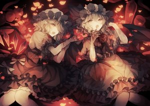 Rating: Safe Score: 56 Tags: 2girls blood bow fang flandre_scarlet hat lolita_fashion petals pointed_ears polychromatic red_eyes remilia_scarlet short_hair touhou vampire wings wiriam07 User: otaku_emmy