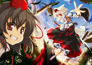 Rating: Safe Score: 68 Tags: animal_ears black_hair clouds dark_skin fang hat hong_(white_spider) inubashiri_momiji japanese_clothes landscape leaves red_eyes ribbons scenic shameimaru_aya short_hair sky sword tail touhou weapon white_hair wolfgirl User: w7382001