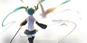 Rating: Safe Score: 67 Tags: aqua_hair hatsune_miku long_hair skirt swd3e2 thighhighs twintails vocaloid User: Flandre93