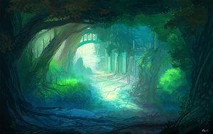 Rating: Safe Score: 93 Tags: feel_(nasitaki) forest grass green nobody original ruins signed tree User: FormX