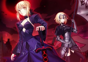 Rating: Safe Score: 102 Tags: 2girls armor artoria_pendragon_(all) blonde_hair breasts cleavage dress fate/grand_order fate_(series) fate/stay_night fuyuki_(neigedhiver) headdress jeanne_d'arc_alter jeanne_d'arc_(fate) jpeg_artifacts red saber saber_alter short_hair sword thighhighs weapon yellow_eyes User: Flandre93