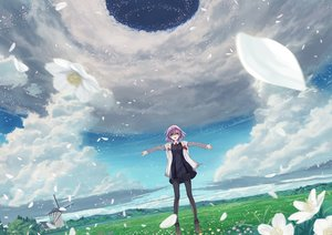 Rating: Safe Score: 57 Tags: 54crystle clouds dress fate/grand_order fate_(series) flowers glasses grass mash_kyrielight panties pantyhose petals purple_hair scenic short_hair sky tie underwear windmill User: RyuZU