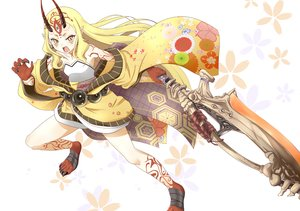 Rating: Safe Score: 27 Tags: blonde_hair demon fate/grand_order fate_(series) gudon_(iukhzl) horns ibaraki_douji_(fate) japanese_clothes long_hair tattoo weapon yellow_eyes User: BattlequeenYume