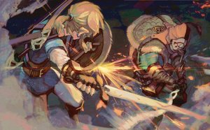 Rating: Safe Score: 54 Tags: all_male blonde_hair boots bow_(weapon) link_(zelda) male mask pointed_ears ponytail shiimo sword the_legend_of_zelda weapon User: otaku_emmy