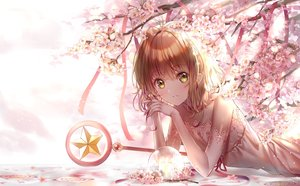 Rating: Safe Score: 95 Tags: brown_hair card_captor_sakura cherry_blossoms dress elbow_gloves flowers gloves green_eyes kinomoto_sakura lium petals ribbons short_hair wand User: BattlequeenYume
