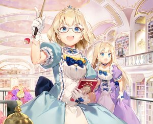 Rating: Safe Score: 99 Tags: 2girls aqua_eyes blonde_hair blush book bow brown_hair choker cropped dress flowers gilse glasses gloves long_hair mage male necklace original rose short_hair tiara waifu2x wand User: otaku_emmy