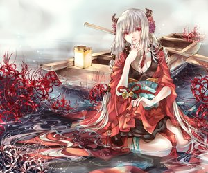 Rating: Safe Score: 29 Tags: boat flowers hankillu horns japanese_clothes kimono long_hair original red_eyes water wet white_hair User: BattlequeenYume