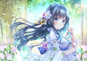 Rating: Safe Score: 139 Tags: black_hair blue_eyes flowers japanese_clothes long_hair original sakura_moyon yukata User: otaku_emmy
