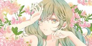 Rating: Safe Score: 19 Tags: brown_eyes close flowers green_hair long_hair original sheepd User: BattlequeenYume