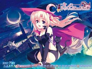 Rating: Safe Score: 41 Tags: halloween hat kusukusu moon night sakura_strasse sky thighhighs witch User: Oyashiro-sama