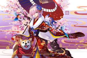 Rating: Safe Score: 64 Tags: animal bird dog fate/grand_order fate_(series) flowers fou_(fate/grand_order) japanese_clothes kimono mash_kyrielight petals purple_eyes purple_hair resau scarf short_hair umbrella valentine User: RyuZU