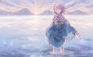Rating: Safe Score: 67 Tags: clouds japanese_clothes kimono long_hair motoori_kosuzu purple_hair ribbons sky touhou toutenkou water User: RyuZU