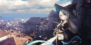 Rating: Safe Score: 80 Tags: blue_eyes building city clouds hat long_hair original sagiri_(ulpha220) scenic sky water witch witch_hat User: Dreista