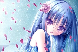 Rating: Safe Score: 160 Tags: blue_hair chinese_clothes chinese_dress dress flowers glasses long_hair nagatsuka_saki petals purple_eyes ro-kyu-bu! scan tinkle User: Robbyn