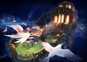 Rating: Safe Score: 57 Tags: animal bird flowers grass instrument inzanaki long_hair night original piano pink_hair pointed_ears scenic sky stars train water wings User: RyuZU