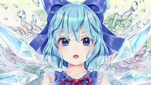 Rating: Safe Score: 67 Tags: aqua_hair blue_eyes bow cirno close dtvisu fairy short_hair touhou water wings User: BattlequeenYume