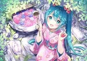 Rating: Safe Score: 69 Tags: aqua_hair chitetan choker flowers green_eyes hatsune_miku japanese_clothes kimono leaves long_hair twintails vocaloid User: BattlequeenYume