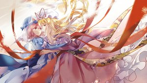 Rating: Safe Score: 52 Tags: 2girls blonde_hair elise_(piclic) hat long_hair pink_eyes pink_hair ribbons saigyouji_yuyuko short_hair shoujo_ai touhou yakumo_yukari User: RyuZU