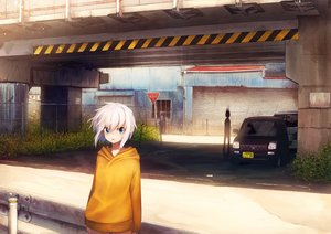 Rating: Safe Score: 26 Tags: blue_eyes building car city gray_hair hoodie kareido_(kaleidoscope) original short_hair User: RyuZU
