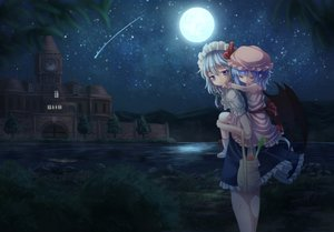 Rating: Safe Score: 24 Tags: 2girls building food grass hat izayoi_sakuya loli maid moon night remilia_scarlet scenic stars t.m_(aqua6233) touhou vampire water wings User: C4R10Z123GT