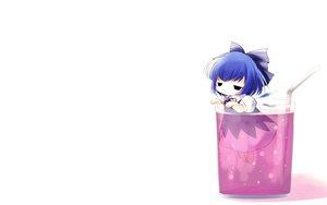 Rating: Safe Score: 38 Tags: blue_hair cat_smile chibi cirno drink fairy short_hair touhou white wings yume_shokunin User: SciFi